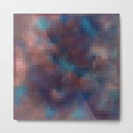Brown , blue pixel Metal Print