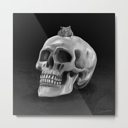 Little mouse and skull - BW Metal Print