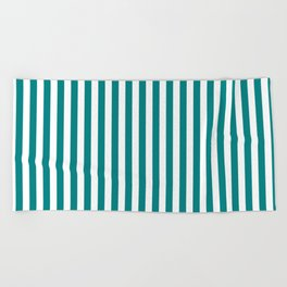 Vertical Stripes (Teal/White) Beach Towel