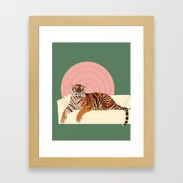 Tiger on a Couch Framed Art Print
