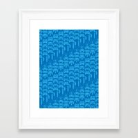 video game Framed Art Prints featuring Video Game Controllers - Blue by C.Rhodes Design