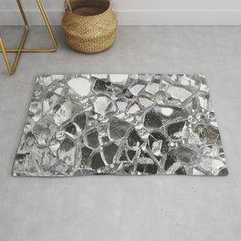 Silver Mirrored Mosaic Rug