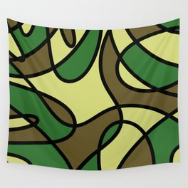 Camo Curves - Abstract, camouflage coloured pattern Wall Tapestry