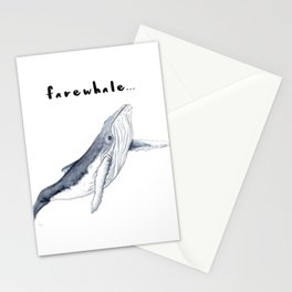 Farewhale Humour Whale Farewell Goobye design Stationery Cards