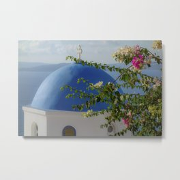 Blue dome church and flowers in Santorini, Greece Metal Print