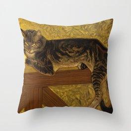 """Théophile Steinlen """"Cat on a Balustrade"""" Throw Pillow"""