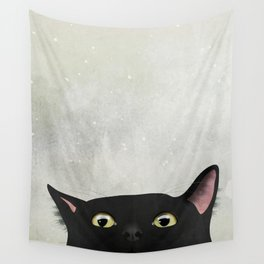 Curious Black Cat Wall Tapestry