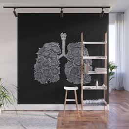 Lungs with peonies on black Wall Mural