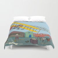 aviation Duvet Covers featuring First Flight 1903 by Magnetic Boys