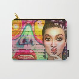 Retro Pinup Girl Lollipop Colorful Graffiti Wall Carry-All Pouch