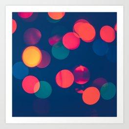 Bokeh Colourful Christmas Lights Art Print
