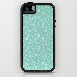 Seafoam Blue Green Christmas Snowflakes iPhone Case