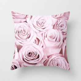 Pink Roses Flowers - Rose and flower pattern Throw Pillow