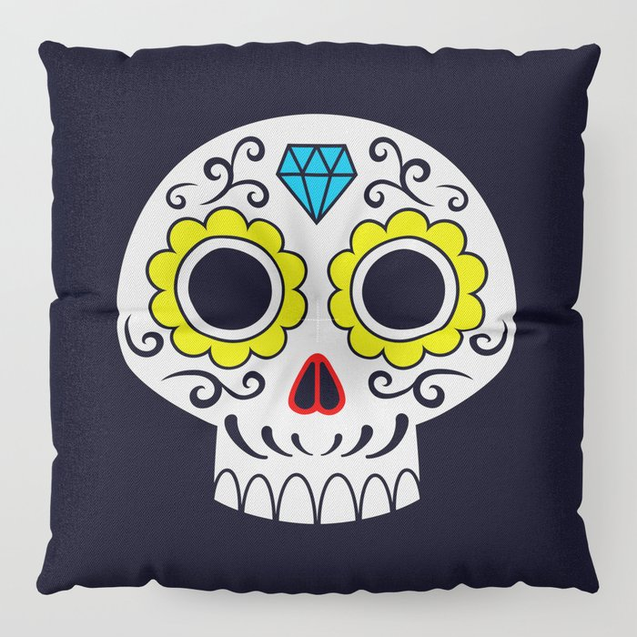 Sugar skull for a cake Floor Pillow