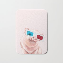 Baby Pink Pig Wear Glasses Pink Bath Mat