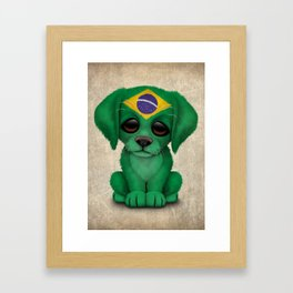 Cute Puppy Dog with flag of Brazil Framed Art Print