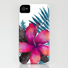 Pink Hibiscus Flower - WHITE Slim Case iPhone (4, 4s)
