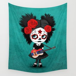 Day of the Dead Girl Playing Serbian Flag Guitar Wall Tapestry