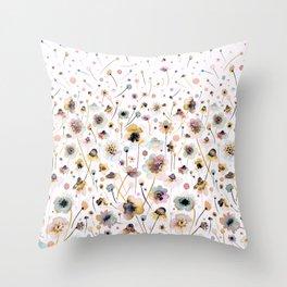 Wild flowers sunshine gold Throw Pillow