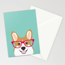Teagan Glasses Corgi cute puppy welsh corgi gifts for dog lovers and pet owners love corgi puppies Stationery Cards