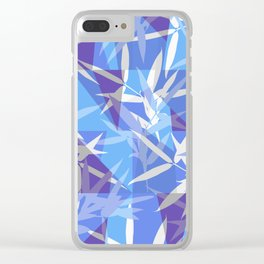 Bamboo in Blue Geometric Pattern Clear iPhone Case