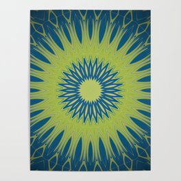 Bright Lime Green and Blue Mandala Poster