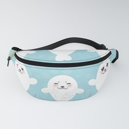 Funny white fur seal pups, cute seals with pink cheeks and big eyes. Kawaii albino animal Fanny Pack