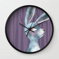 bunny Wall Clocks featuring Bunny by makoshark