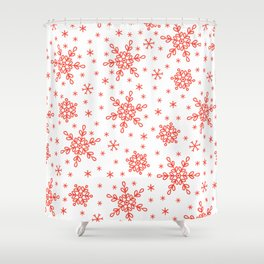 Christmas Red Snowflakes Star Pattern Shower Curtain