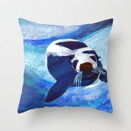 Swimming Seal Throw Pillow