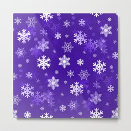 Light Purple Snowflakes Metal Print