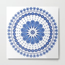 Blue round lace Metal Print