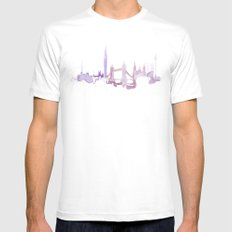 Watercolor landscape illustration_London MEDIUM Mens Fitted Tee White