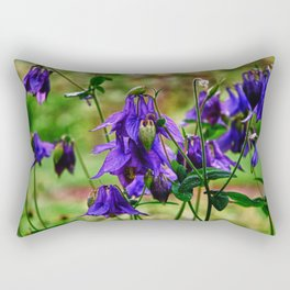 Purple Petals in the Rain Rectangular Pillow