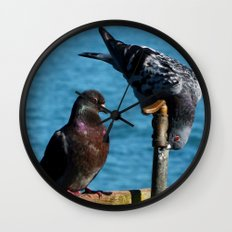 Drinking Pigeons Wall Clock