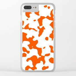 Large Spots - White and Dark Orange Clear iPhone Case