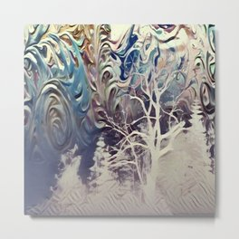 snowy mountain night Metal Print