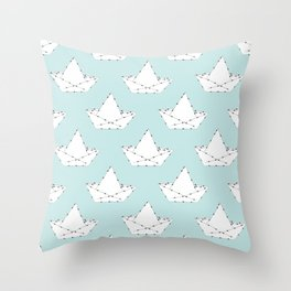 Origami Boat Throw Pillow