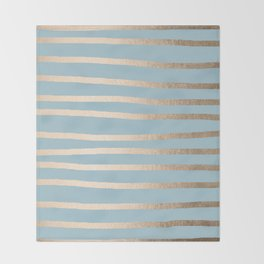 Abstract Drawn Stripes Gold Tropical Ocean Sea Blue Throw Blanket
