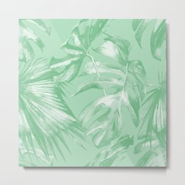 Tropics Mint Green Palm Leaves Metal Print