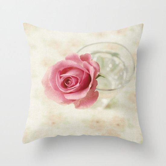 Vintage Textured Rose  Throw Pillow