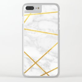 White Carrara marble with gold lines Clear iPhone Case