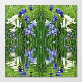 PURPLE IRIS WATER GARDEN  REFLECTION Canvas Print