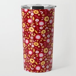 Autumn floral - red Travel Mug
