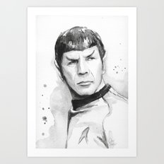 Spock Portrait Watercolor Sci-fi Geek Art Art Print
