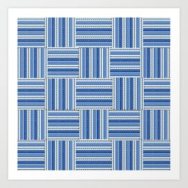 Blue check waves Art Print