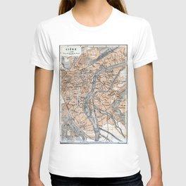 Vintage Map of Liège Belgium (1905) T-shirt
