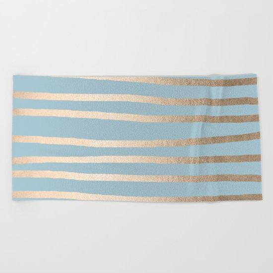 Abstract Drawn Stripes Gold Tropical Ocean Sea Blue Beach Towel