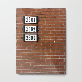 Addresses on a Brick Wall in Montreal Metal Print
