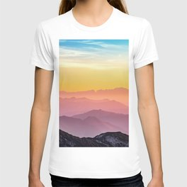 sky blue yellow orange purple T-shirt